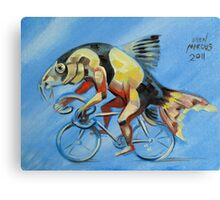 Clown Loach on a Bicycle Canvas Print