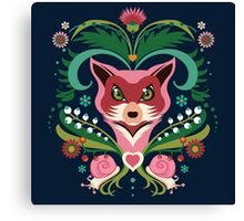 Pink FOX Portrait with Snails Canvas Print