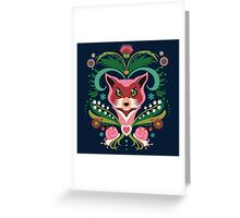 Pink FOX Portrait with Snails Greeting Card