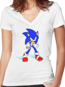 Sonic : Super Fast Pokemon Trainer Women's Fitted V-Neck T-Shirt