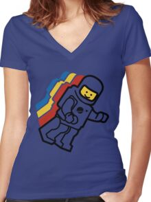 LEGO Classic Space Minifig Women's Fitted V-Neck T-Shirt