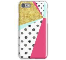 gold aqua pink dots color block abstract iPhone Case/Skin
