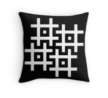 Cross-Stitch Swastika Pattern - White Throw Pillow