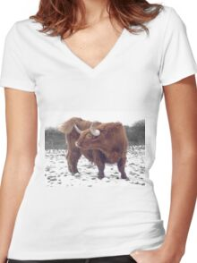 Highland cattle in snow Women's Fitted V-Neck T-Shirt
