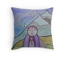 Mountain Mizuko Jizo Throw Pillow