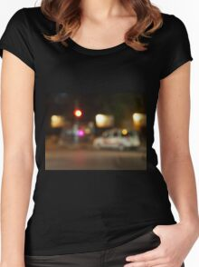 Defocused silhouette of the car and traffic lights Women's Fitted Scoop T-Shirt