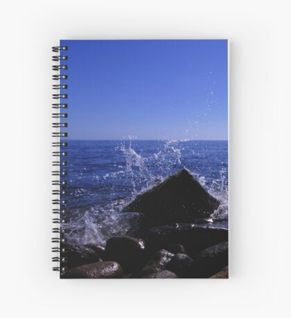 Sea crashes against the land Spiral Notebook