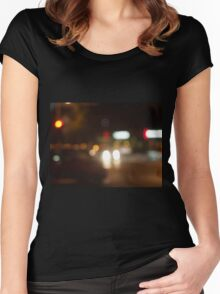 Blur and defocused lights from the headlights of cars Women's Fitted Scoop T-Shirt