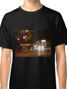 Blur and defocused lights from the headlights of cars Classic T-Shirt