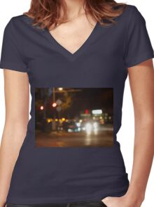 Blur and defocused lights from the headlights of cars Women's Fitted V-Neck T-Shirt