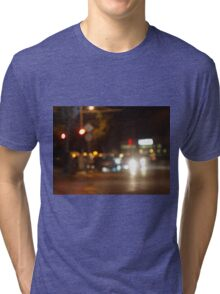 Blur and defocused lights from the headlights of cars Tri-blend T-Shirt