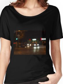 Blur and defocused lights from the headlights Women's Relaxed Fit T-Shirt