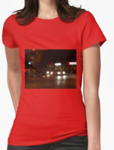 Blur and defocused lights from the headlights Womens Fitted T-Shirt