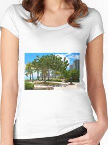 Waikiki Beach, Honolulu Oahu - HAWAII Women's Fitted Scoop T-Shirt
