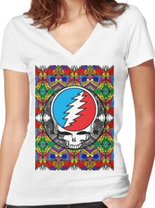 Grateful Dead Trippy Pattern Women's Fitted V-Neck T-Shirt