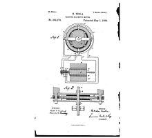 Nikola Tesla Electro-Magnetic Motor No. 382,279 Part 1 Photographic Print