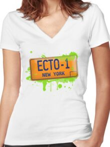 Ghostbusters ecto-1 license plate Women's Fitted V-Neck T-Shirt