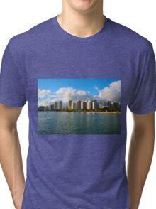Waikiki Beach, Honolulu OAHU Tri-blend T-Shirt