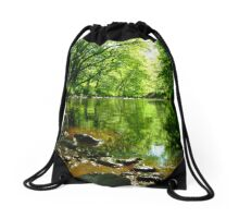 Green meditation Drawstring Bag