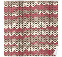 Pink Knitted Knitting Printed Design - For a Craft Lover Maroon Poster
