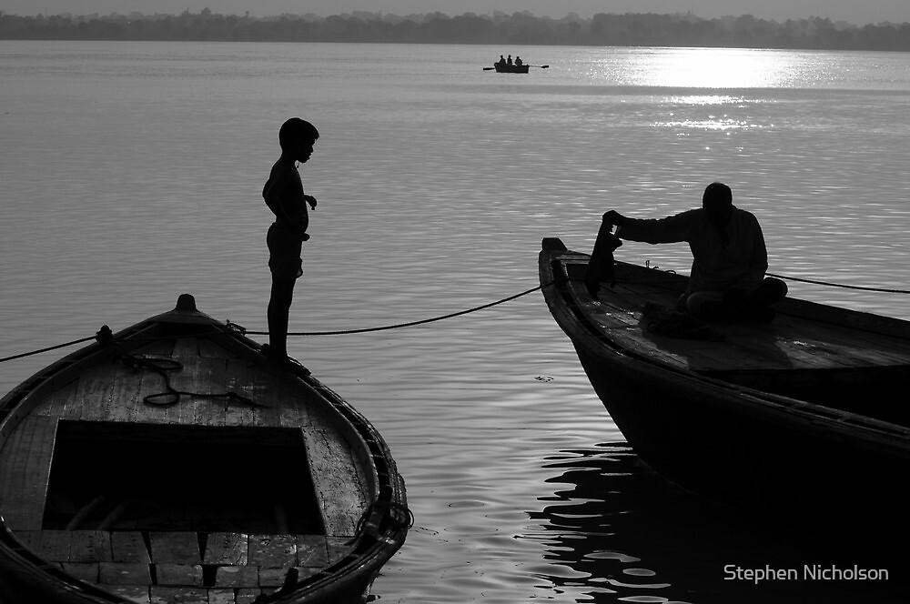 Boy on the Ganga by steve nicholson