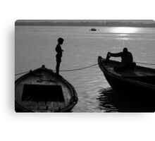 Boy on the Ganga Canvas Print