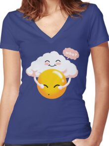 Sunny Weather Women's Fitted V-Neck T-Shirt