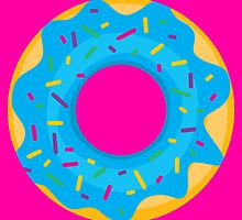 Donut with Blue Icing and Rainbow Sprinkles by ryanlynncook