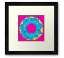 Donut with Blue Icing and Rainbow Sprinkles Framed Print