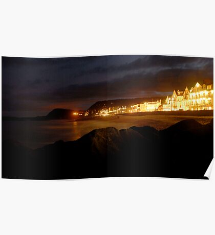 Sidmouth Sea Front At Night Poster