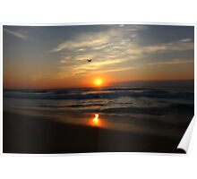Water color sunrise at beach Poster