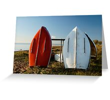 Boats on East Beach, Southend. Greeting Card