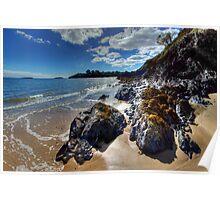 Abersoch Harbour beach rocks Poster