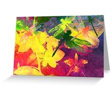 Dragonflies & Orchids. Modern Art. Greeting Card