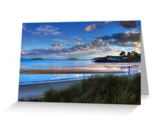 Abersoch Warren beach golden light and blue sea. Greeting Card