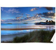 Abersoch Warren beach golden light and blue sea. Poster