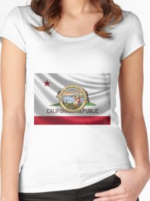 California Great Seal over State Flag Women's Fitted Scoop T-Shirt