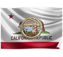 California Great Seal over State Flag Poster