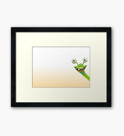 Funny smiling green snail Framed Print