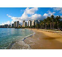 Hawaii - Oahu Island, Honolulu Waikiki Beach Panorama Photographic Print