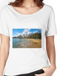 Hawaii - Oahu Island, Honolulu Waikiki Beach Panorama Women's Relaxed Fit T-Shirt