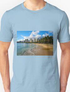 Hawaii - Oahu Island, Honolulu Waikiki Beach Panorama Unisex T-Shirt