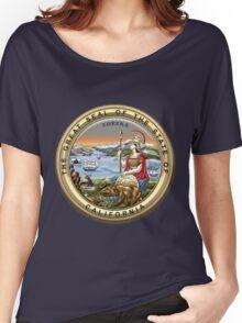 California State Seal over Blue Velvet Women's Relaxed Fit T-Shirt