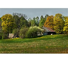 Spring in old farmstead 3 (White & brown house) Photographic Print