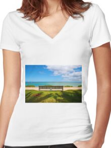Waikiki Beach, Honolulu HAWAII Women's Fitted V-Neck T-Shirt