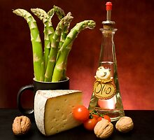 Still Life With Asparagus, Cheese And Olive Oil by Corina Daniela Obertas