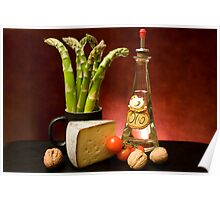 Still Life With Asparagus, Cheese And Olive Oil Poster