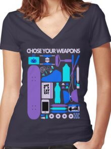Chose Your Weapons - New Colours Women's Fitted V-Neck T-Shirt