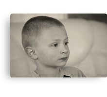 Portrait of a contented boy. Canvas Print