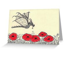 Ruler Of The Garden - Dragon-Fly and Red Poppies Greeting Card